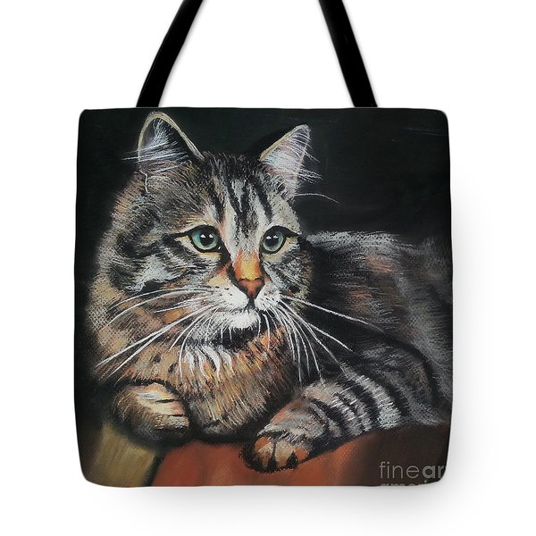 Cat Pastel Drawing Tote Bag