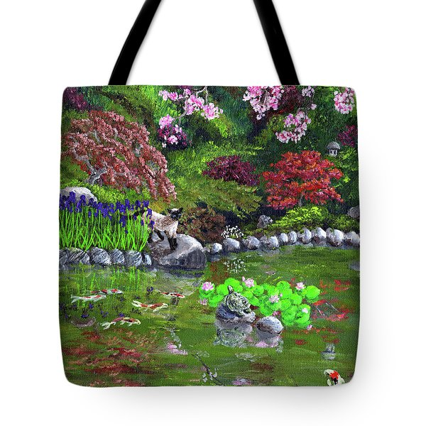 Cat Turtle And Water Lilies Tote Bag
