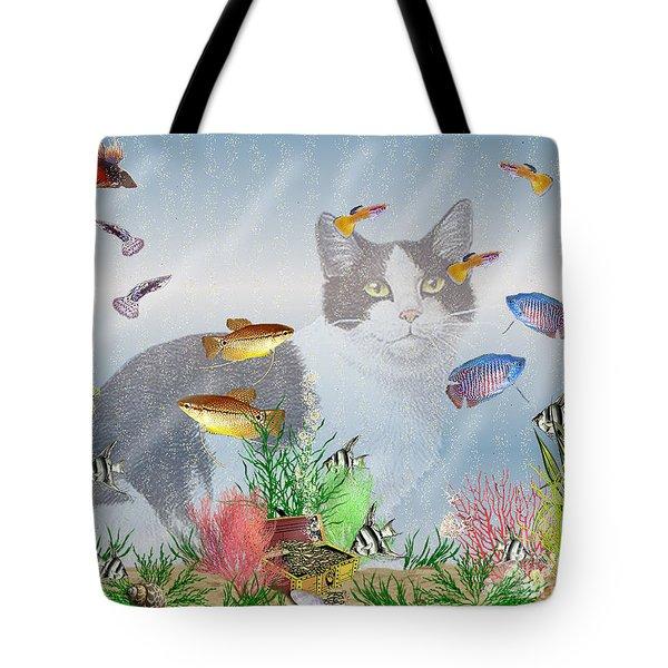 Tote Bag featuring the digital art Cat Watching Fishtank by Terri Mills