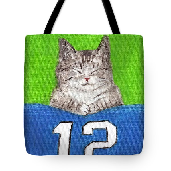 Cat With 12th Flag Tote Bag