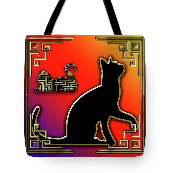 Tote Bag featuring the digital art Cat With Art Deco Border by Chuck Staley