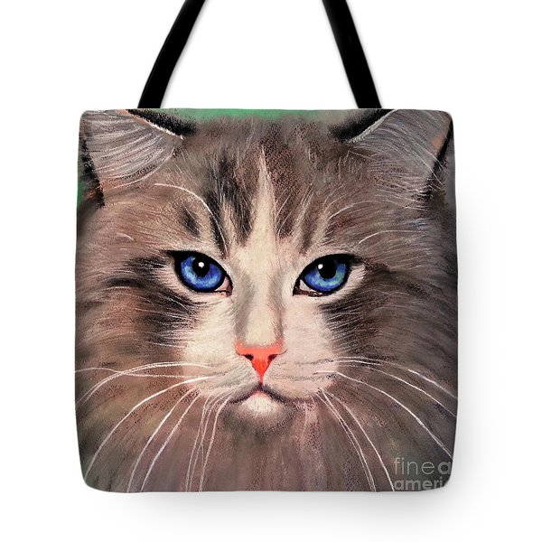 Tote Bag featuring the digital art Cat With Blue Eyes by Maja Sokolowska