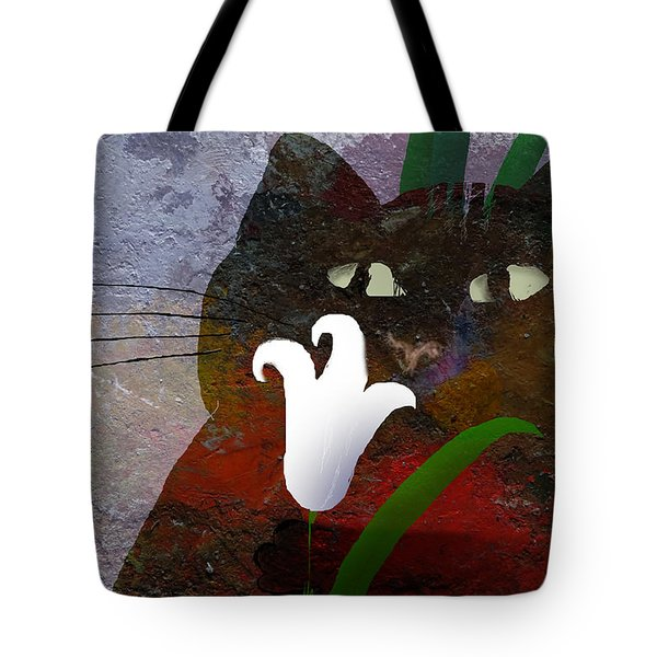Cat With Lily Tote Bag
