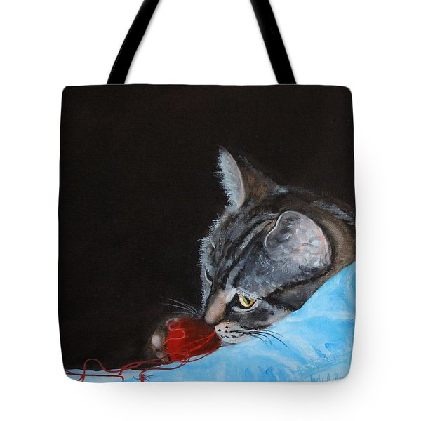 Cat With Red Yarn Tote Bag