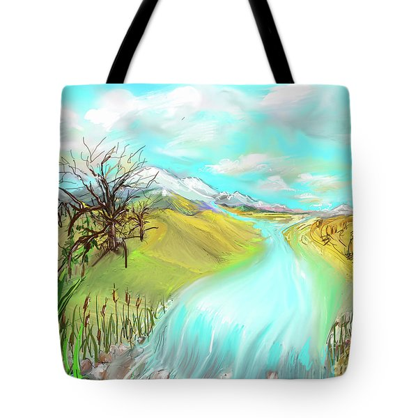 Catails Before The Fisherman Tote Bag