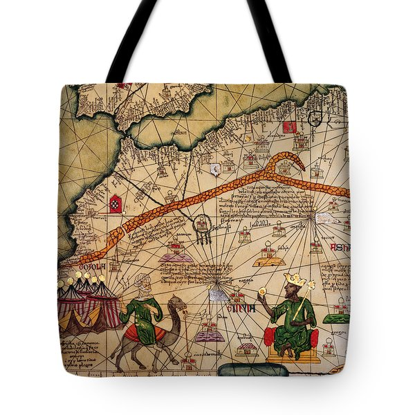 Catalan Map Of Europe And North Africa Charles V Of France In 1381  Tote Bag by Abraham Cresques