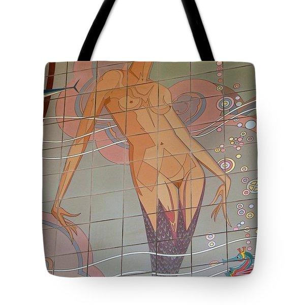 Catalina Tile Mermaid Tote Bag by Jeff Lowe