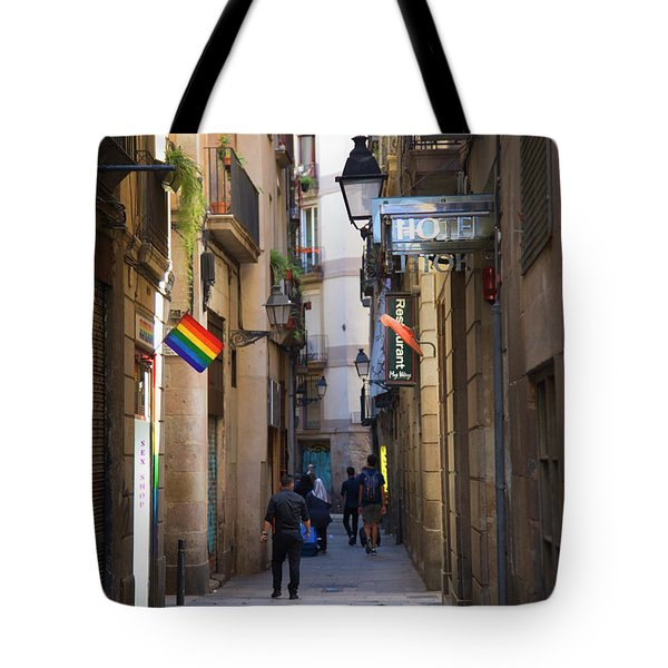 Catalonia Flag La Rambia Gothic Quarter Hotel Spain  Tote Bag