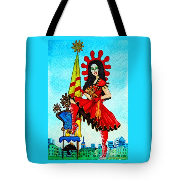 Tote Bag featuring the painting Catalan Girl In Converse by Don Pedro De Gracia