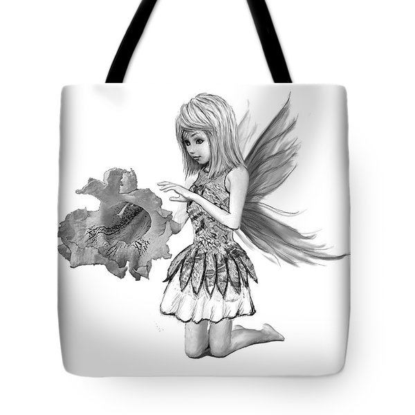 Catalpa Tree Fairy With Flower B And W Tote Bag
