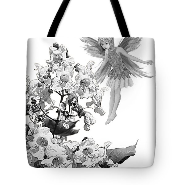 Catalpa Tree Fairy With Flowers B And W Tote Bag