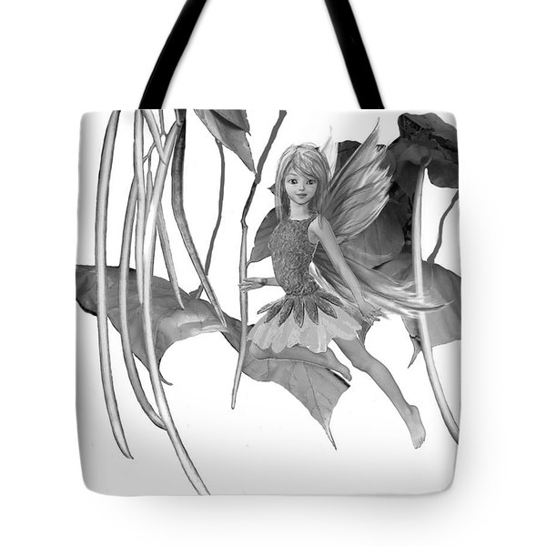 Catalpa Tree Fairy With Seed Pods B And W Tote Bag