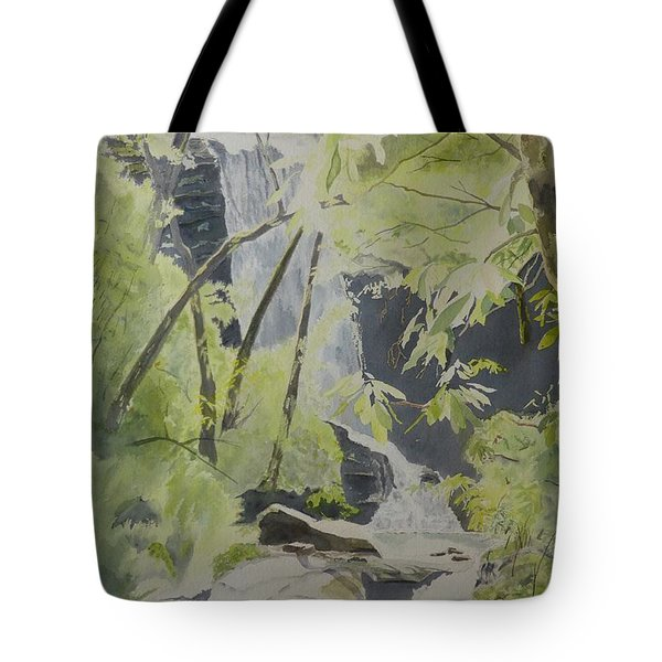Tote Bag featuring the painting Catawba Falls - The Upper Cascade by Joel Deutsch