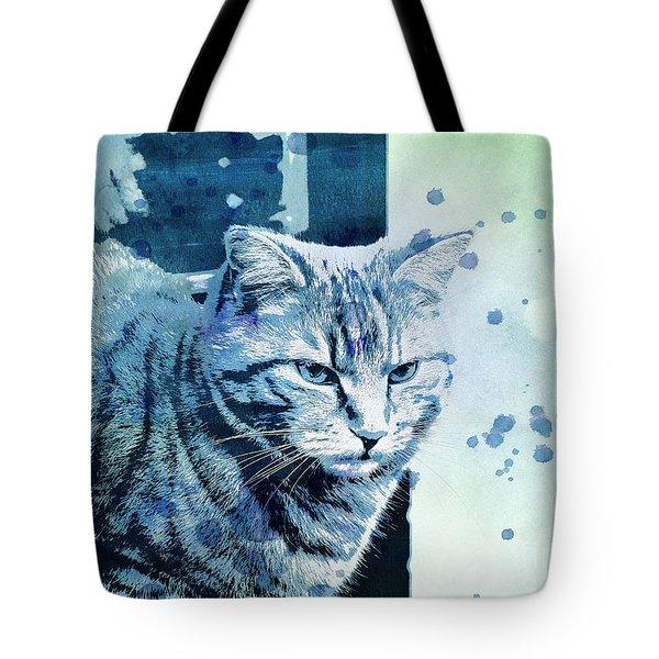 Tote Bag featuring the digital art Catbird Seat by Jutta Maria Pusl
