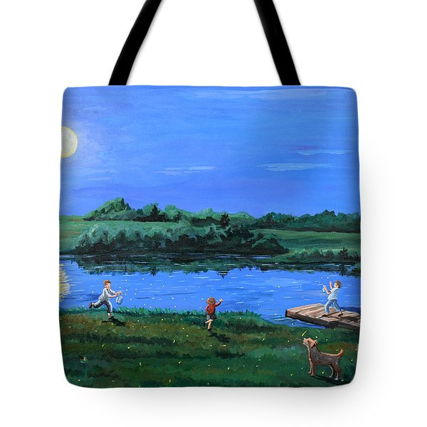 Catching Fireflies By Moonlight Tote Bag