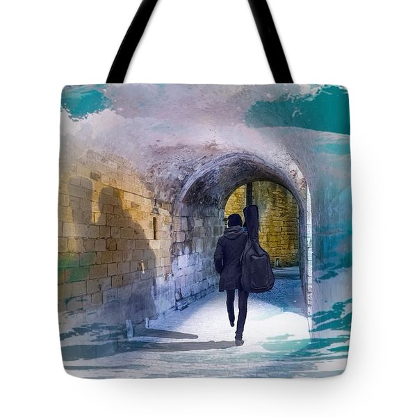 Catching The Tube With My Guitar Tote Bag