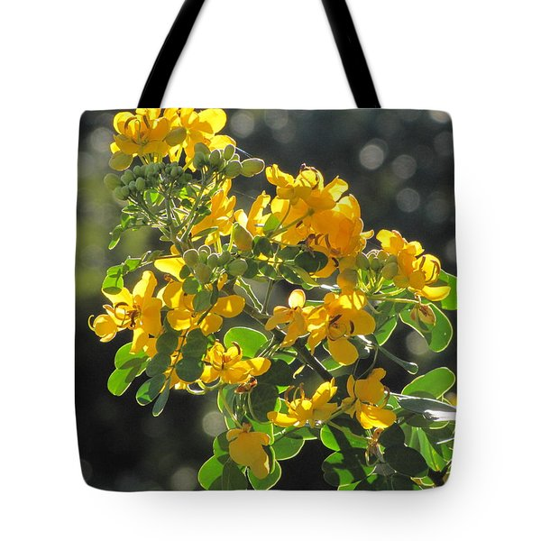 Catchlight Bee Over Yellow Blooms Tote Bag
