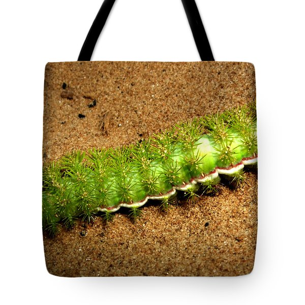 Tote Bag featuring the photograph Caterpillar 009 - Macro by George Bostian