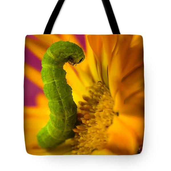Caterpillar In Flower Tote Bag