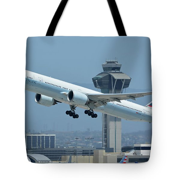 Cathay Pacific Boeing 777-367er B-kph Los Angeles International Airport May 3 2016 Tote Bag by Brian Lockett