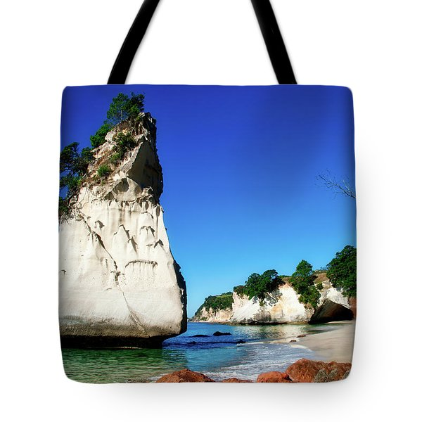 Tote Bag featuring the photograph Cathedral Cove by Mark Dodd