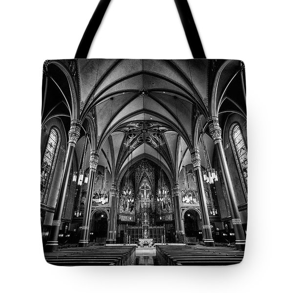 Cathedral Of The Madeline In Black And W Tote Bag