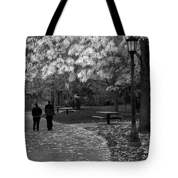 Cathedral Park In Fall Bw Tote Bag