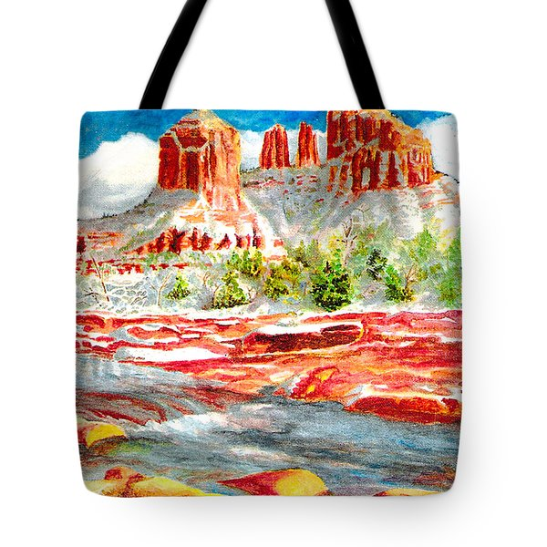 Tote Bag featuring the painting Cathedral Rock Crossing by Eric Samuelson