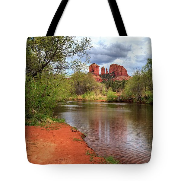 Tote Bag featuring the photograph Cathedral Rock From Oak Creek by James Eddy