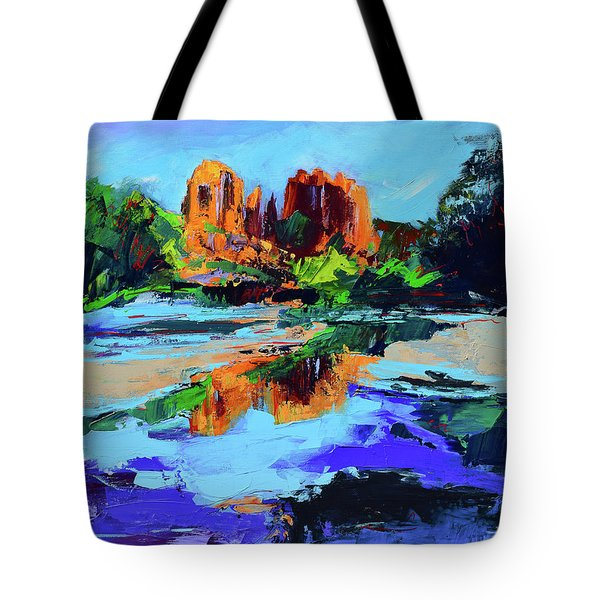 Tote Bag featuring the painting Cathedral Rock - Sedona by Elise Palmigiani