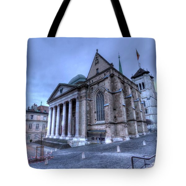 Cathedral Saint-pierre, Peter, In The Old City, Geneva, Switzerland, Hdr Tote Bag by Elenarts - Elena Duvernay photo