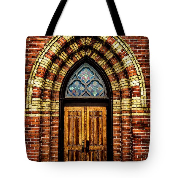 Tote Bag featuring the photograph Cathedral Tower Door by Onyonet  Photo Studios