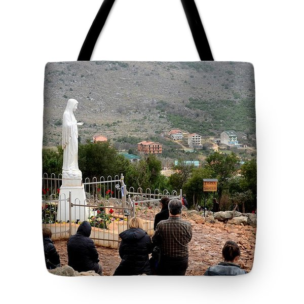 Catholic Pilgrim Worshipers Pray To Virgin Mary Medjugorje Bosnia Herzegovina Tote Bag