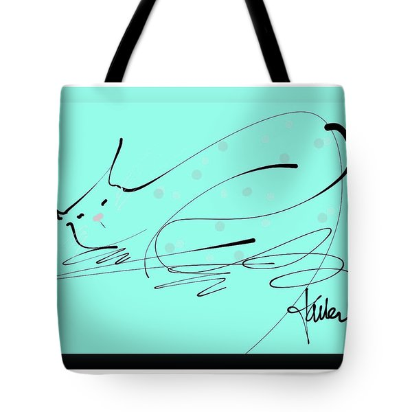 Tote Bag featuring the mixed media Catnap In Blue by Larry Talley