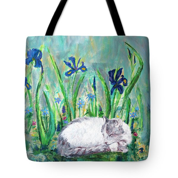 Catnap In The Garden Tote Bag