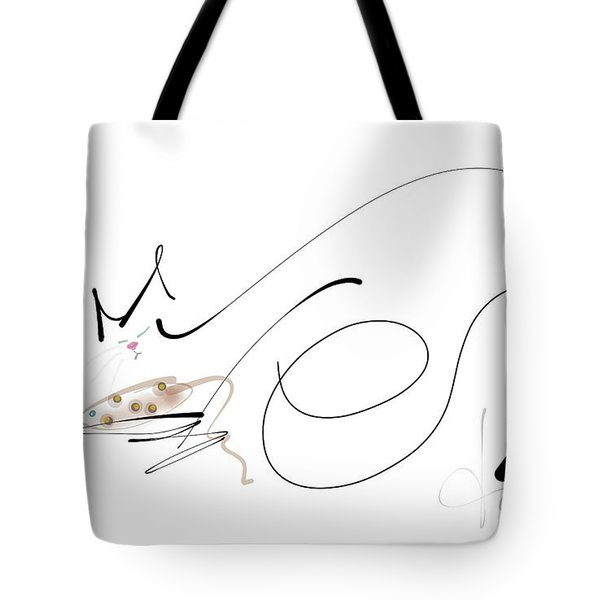 Tote Bag featuring the mixed media Catnap With The Faithful Old Catnip Mouse by Larry Talley
