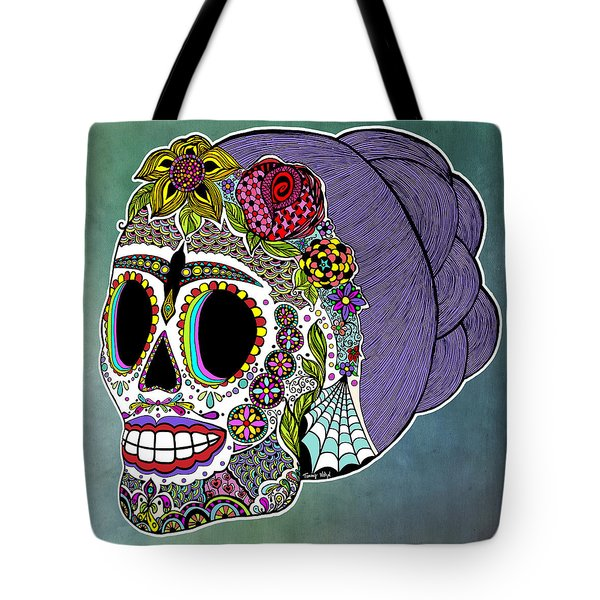 Tote Bag featuring the drawing Catrina Sugar Skull by Tammy Wetzel