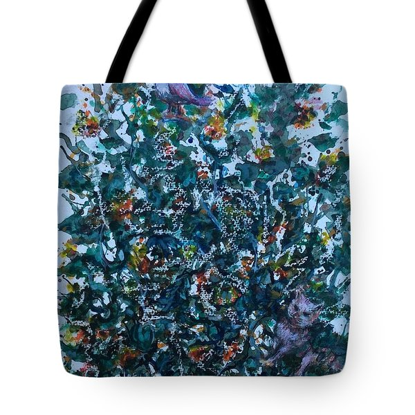 Tote Bag featuring the painting Cats And A Bird  by Laila Awad Jamaleldin