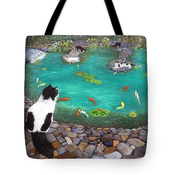 Cats And Koi Tote Bag