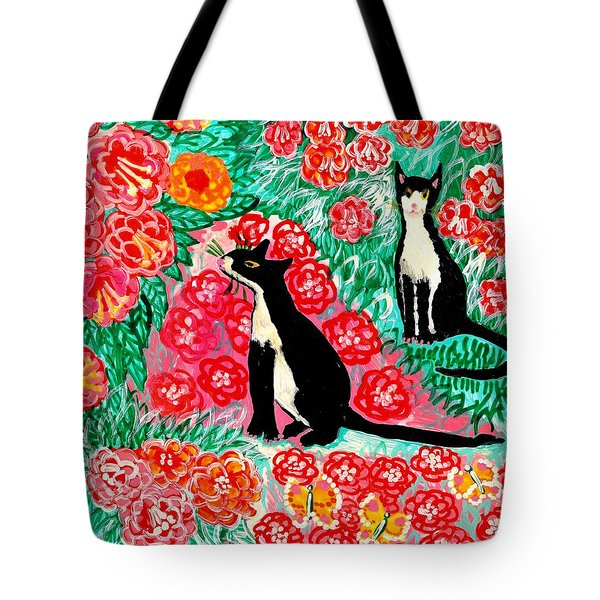 Cats And Roses Tote Bag by Sushila Burgess
