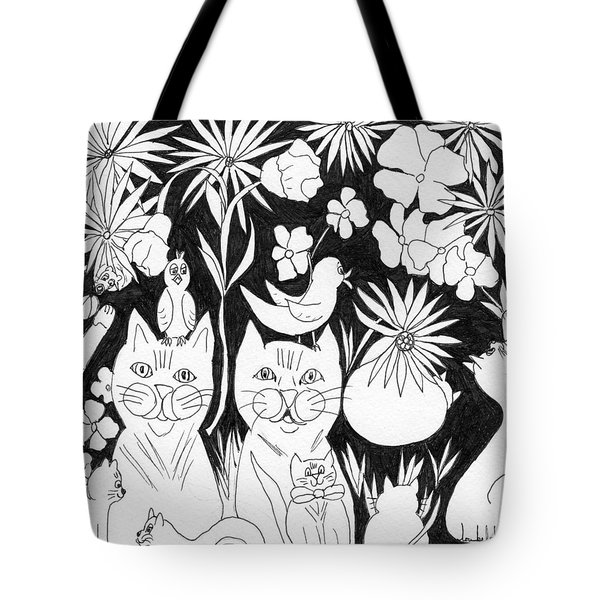 Tote Bag featuring the drawing Cats In The Garden by Lou Belcher