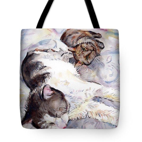 Cats In Watercolor Tote Bag