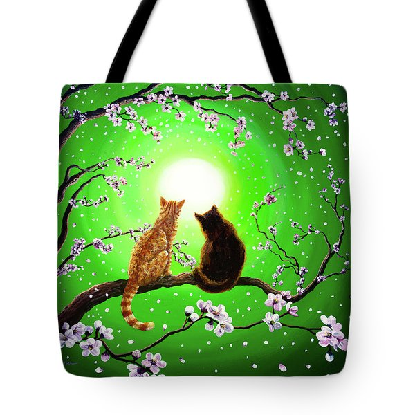 Cats On A Spring Night Tote Bag