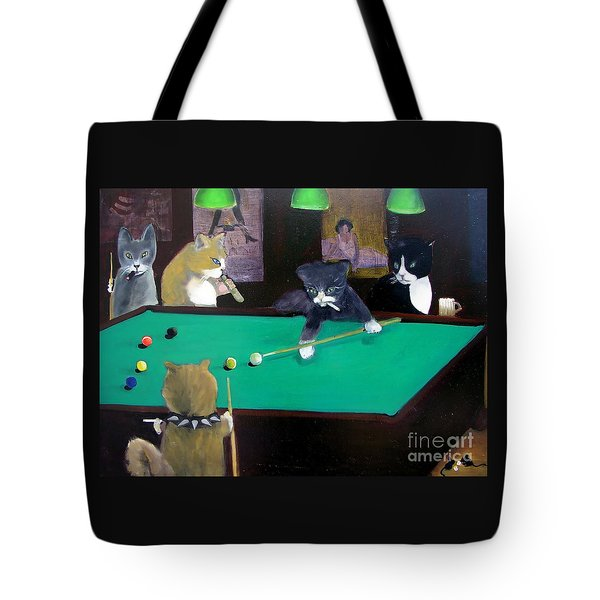 Cats Playing Pool Tote Bag by Gail Eisenfeld