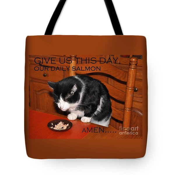 Cat's Prayer Revisited By Teddy The Ninja Cat Tote Bag