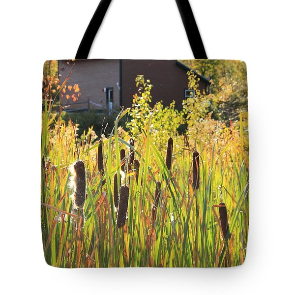 Cattails And Barn Tote Bag by Roupen  Baker