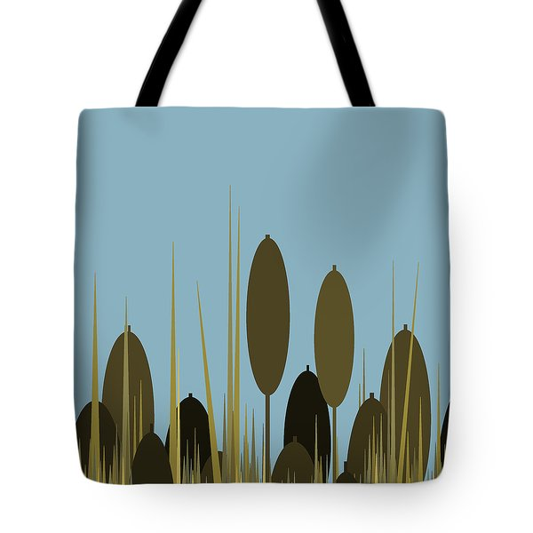 Cattails And Blue Sky Tote Bag by Val Arie
