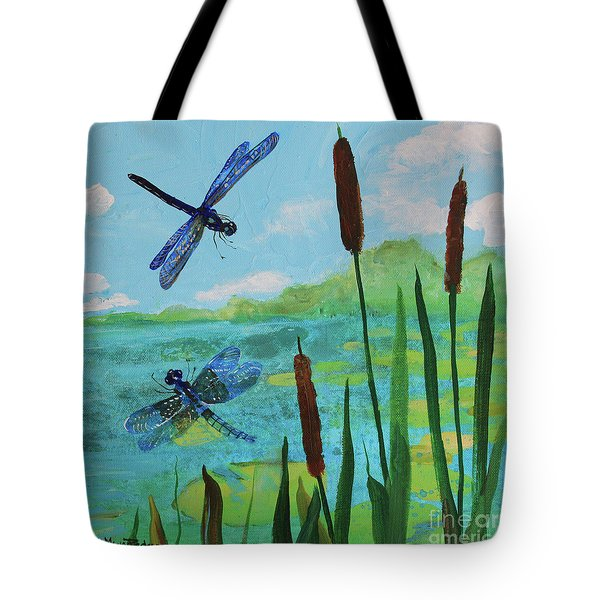 Cattails And Dragonflies Tote Bag