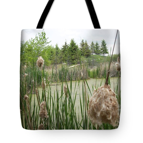 Tote Bag featuring the photograph Cattails by Mary Mikawoz
