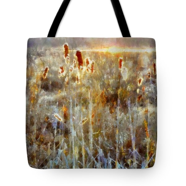 Tote Bag featuring the photograph Cattails - Misty Morning - Marsh - Frost by Janine Riley